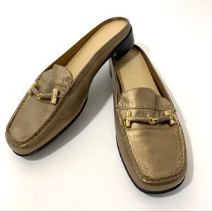 Liz Claiborne Flex Bronze Leather Mule Slides